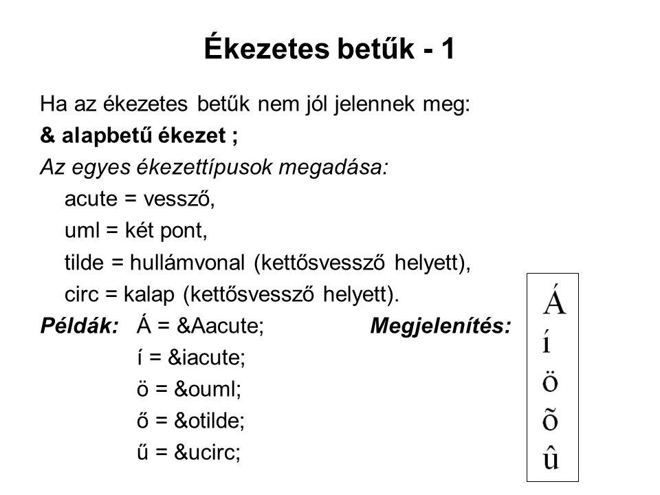 Ékezetes betűk - 1 Ha az ékezetes betűk nem jól jelennek meg: & alapbetű ékezet ; Az egyes ékezettípusok megadása: acute = vessző, uml = két pont, tilde = hullámvonal (kettősvessző helyett), circ = kalap (kettősvessző helyett).