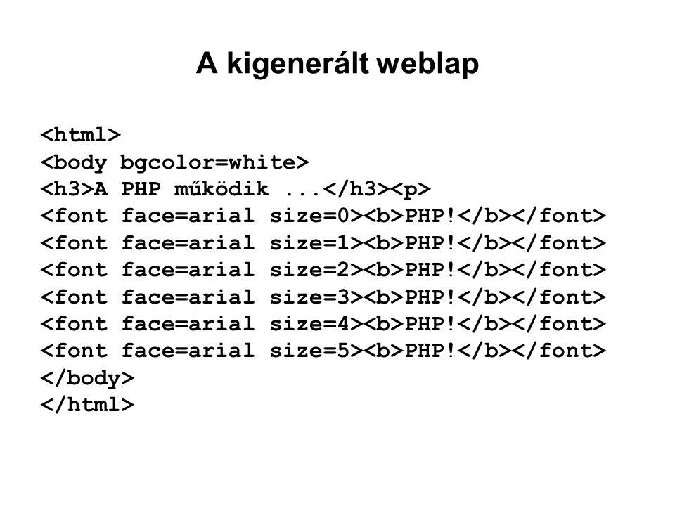 A kigenerált weblap A PHP működik... PHP!