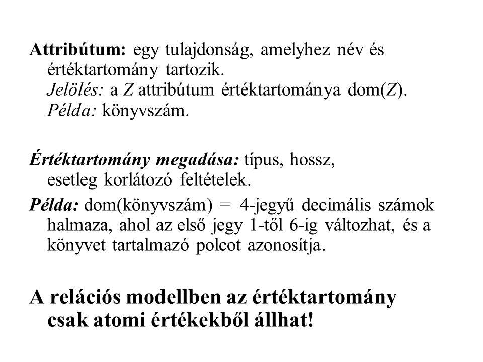 Attribútum: egy tulajdonság, amelyhez név és értéktartomány tartozik. Jelölés: a Z attribútum értéktartománya dom(Z). Példa: könyvszám. Értéktartomány