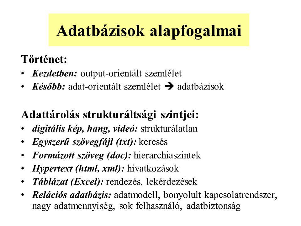 Dolgozó (adószám, név, lakcím) Osztály (osztálykód, osztálynév) Dolgozik (adószám, osztálykód) Vezeti (adószám, osztálykód) Összevonás: Dolgozó (adószám, név, lakcím, osztálykód) Osztály (osztálykód, osztálynév, vezAdószám) Példa: dolgozók nyilvántartása -2
