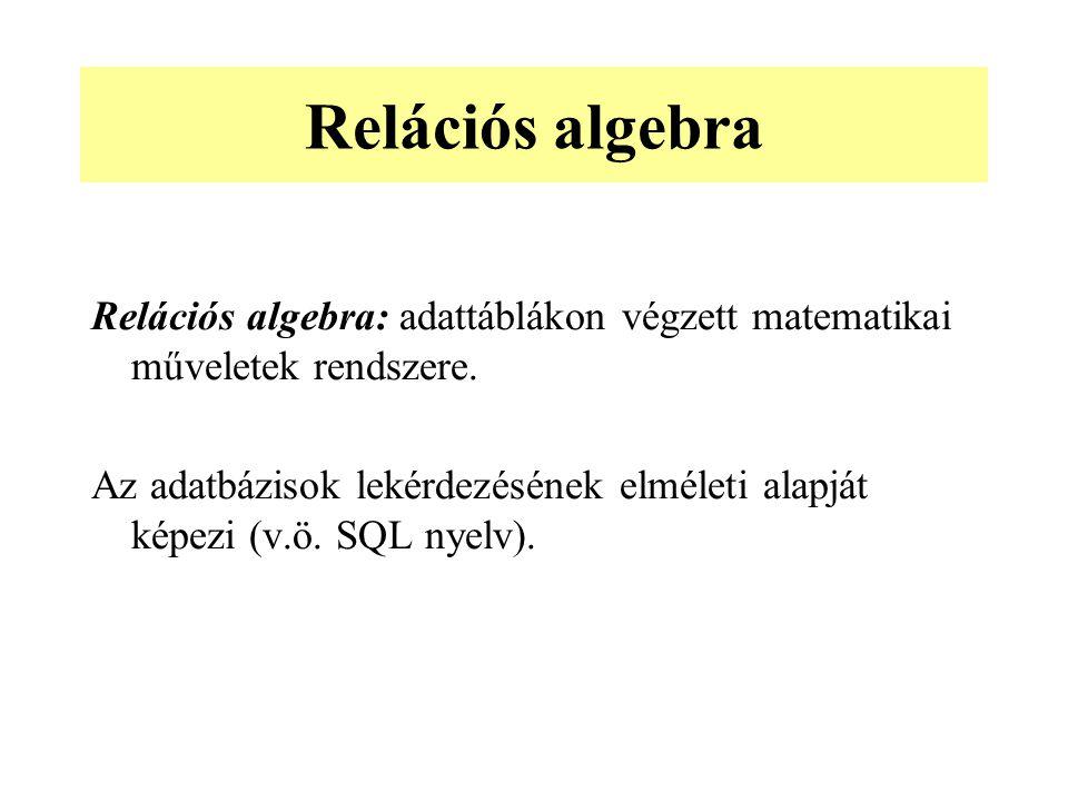 Relációs algebra: adattáblákon végzett matematikai műveletek rendszere. Az adatbázisok lekérdezésének elméleti alapját képezi (v.ö. SQL nyelv). Reláci