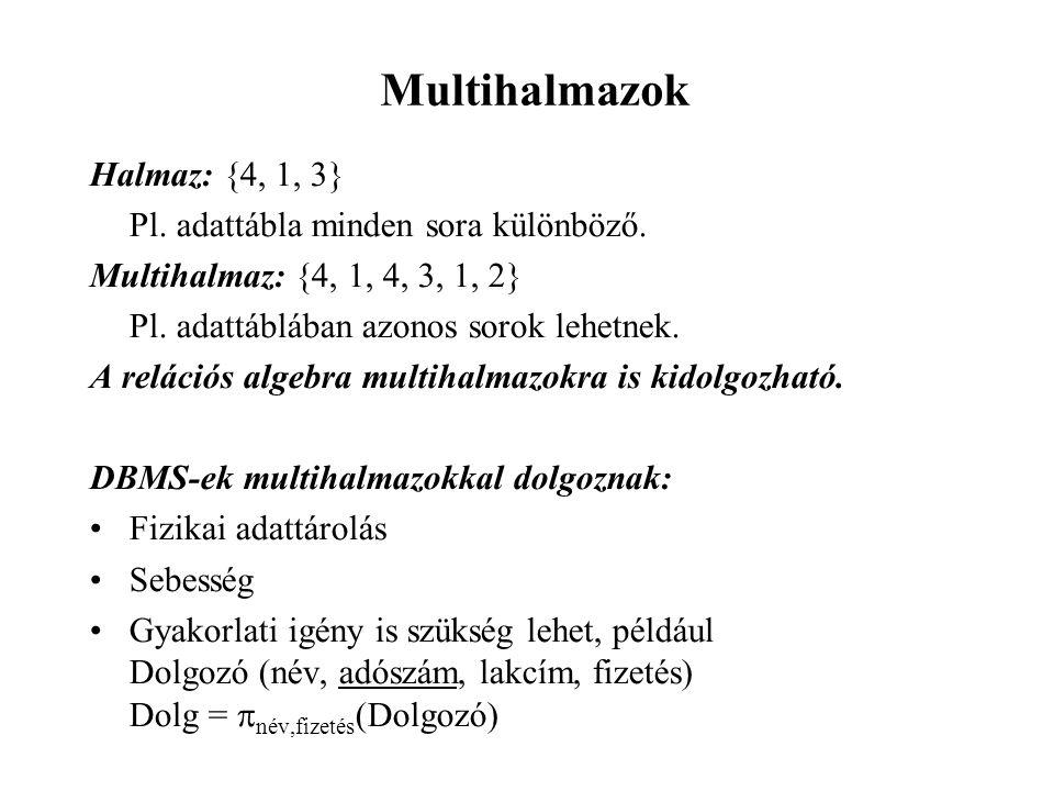 Multihalmazok Halmaz: {4, 1, 3} Pl. adattábla minden sora különböző. Multihalmaz: {4, 1, 4, 3, 1, 2} Pl. adattáblában azonos sorok lehetnek. A reláció