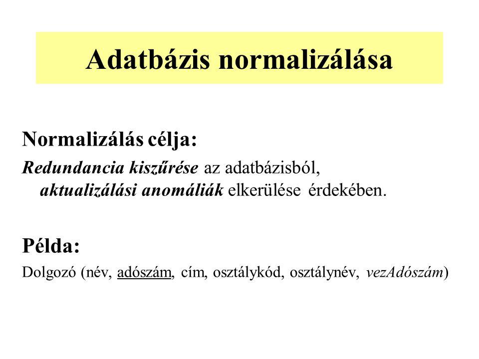 Normalizálás célja: Redundancia kiszűrése az adatbázisból, aktualizálási anomáliák elkerülése érdekében. Példa: Dolgozó (név, adószám, cím, osztálykód