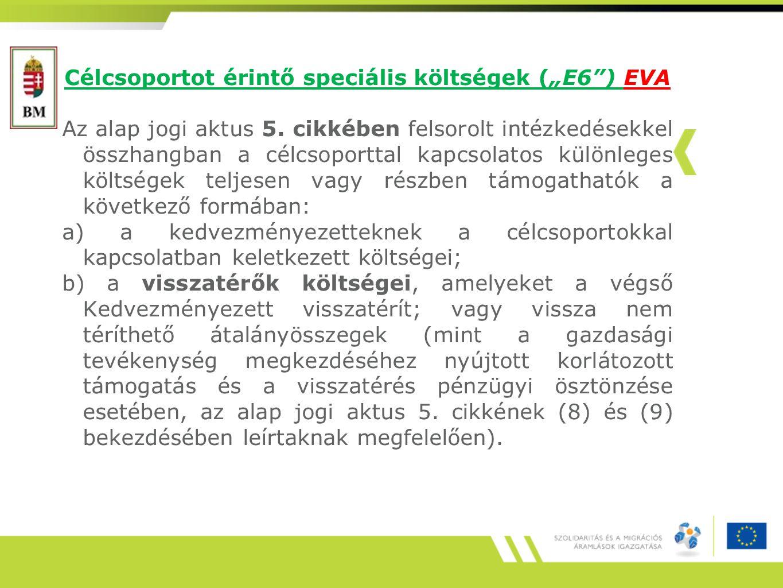 """Célcsoportot érintő speciális költségek (""""E6 ) EVA Az alap jogi aktus 5."""