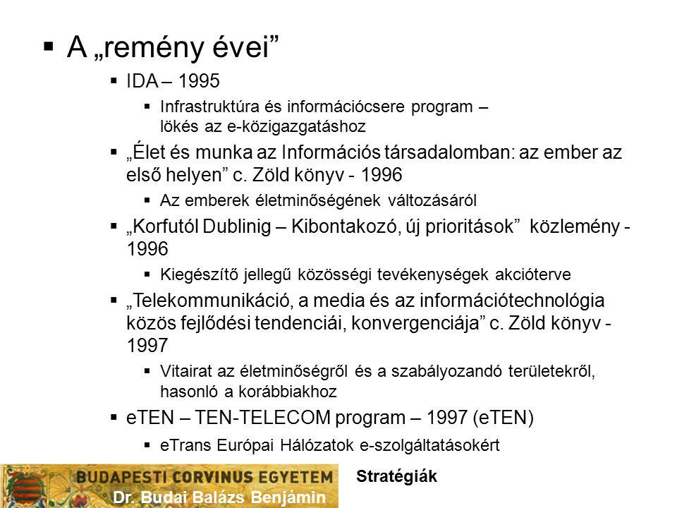 """ A """"remény évei  IDA – 1995  Infrastruktúra és információcsere program – lökés az e-közigazgatáshoz  """"Élet és munka az Információs társadalomban: az ember az első helyen c."""