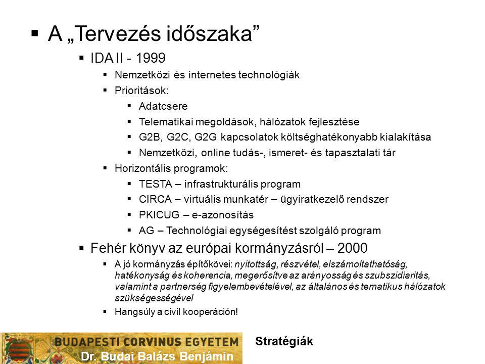 """ A """"Tervezés időszaka  IDA II - 1999  Nemzetközi és internetes technológiák  Prioritások:  Adatcsere  Telematikai megoldások, hálózatok fejlesztése  G2B, G2C, G2G kapcsolatok költséghatékonyabb kialakítása  Nemzetközi, online tudás-, ismeret- és tapasztalati tár  Horizontális programok:  TESTA – infrastrukturális program  CIRCA – virtuális munkatér – ügyiratkezelő rendszer  PKICUG – e-azonosítás  AG – Technológiai egységesítést szolgáló program  Fehér könyv az európai kormányzásról – 2000  A jó kormányzás építőkövei: nyitottság, részvétel, elszámoltathatóság, hatékonyság és koherencia, megerősítve az arányosság és szubszidiaritás, valamint a partnerség figyelembevételével, az általános és tematikus hálózatok szükségességével  Hangsúly a civil kooperáción."""