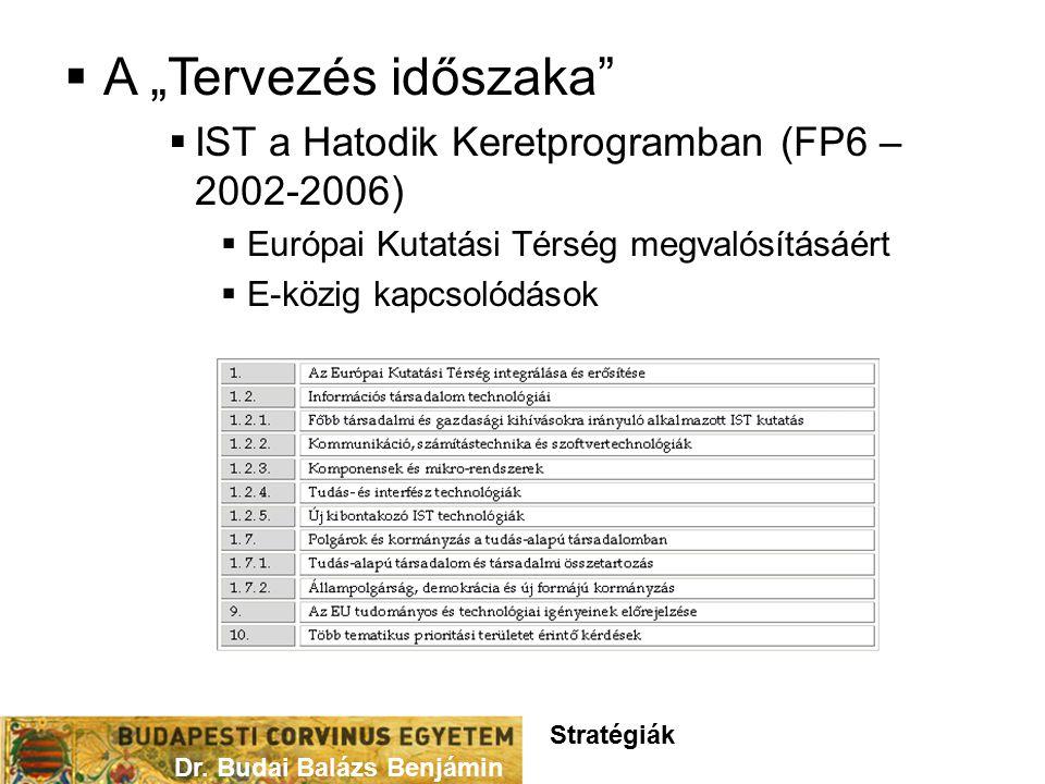 """ A """"Tervezés időszaka  IST a Hatodik Keretprogramban (FP6 – 2002-2006)  Európai Kutatási Térség megvalósításáért  E-közig kapcsolódások Dr."""