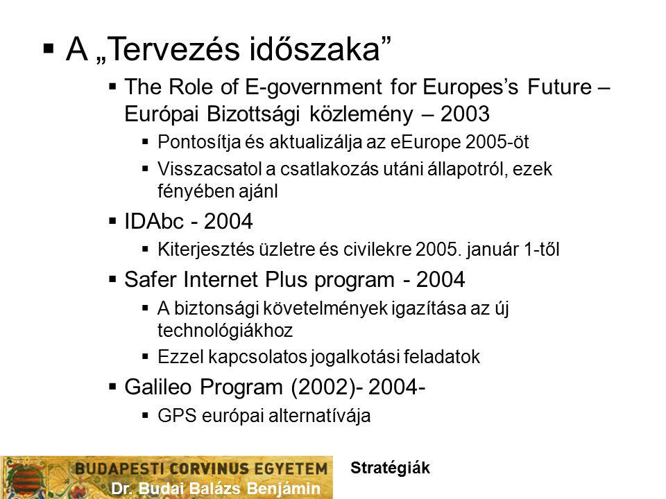 """ A """"Tervezés időszaka  The Role of E-government for Europes's Future – Európai Bizottsági közlemény – 2003  Pontosítja és aktualizálja az eEurope 2005-öt  Visszacsatol a csatlakozás utáni állapotról, ezek fényében ajánl  IDAbc - 2004  Kiterjesztés üzletre és civilekre 2005."""