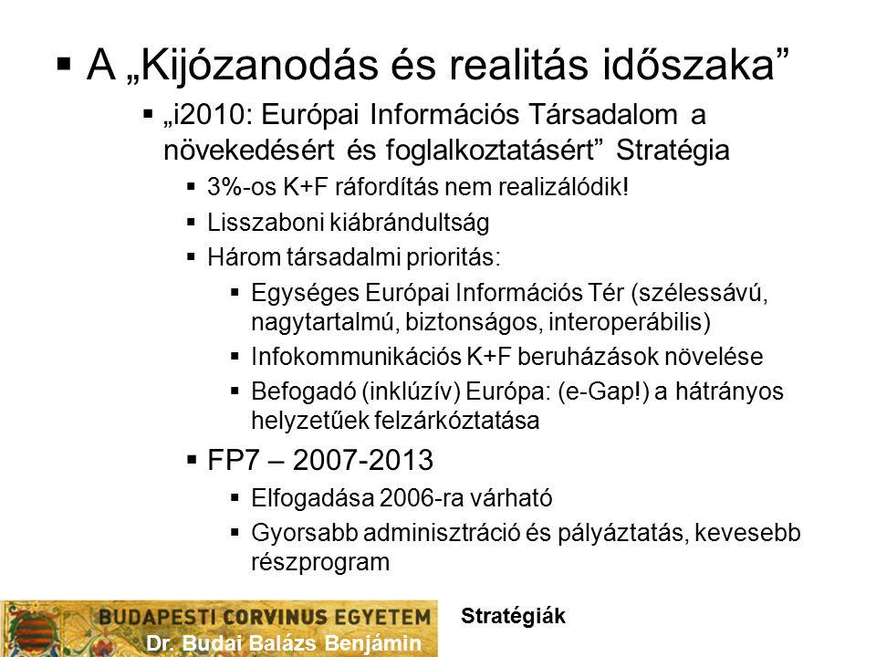 """ A """"Kijózanodás és realitás időszaka  """"i2010: Európai Információs Társadalom a növekedésért és foglalkoztatásért Stratégia  3%-os K+F ráfordítás nem realizálódik."""