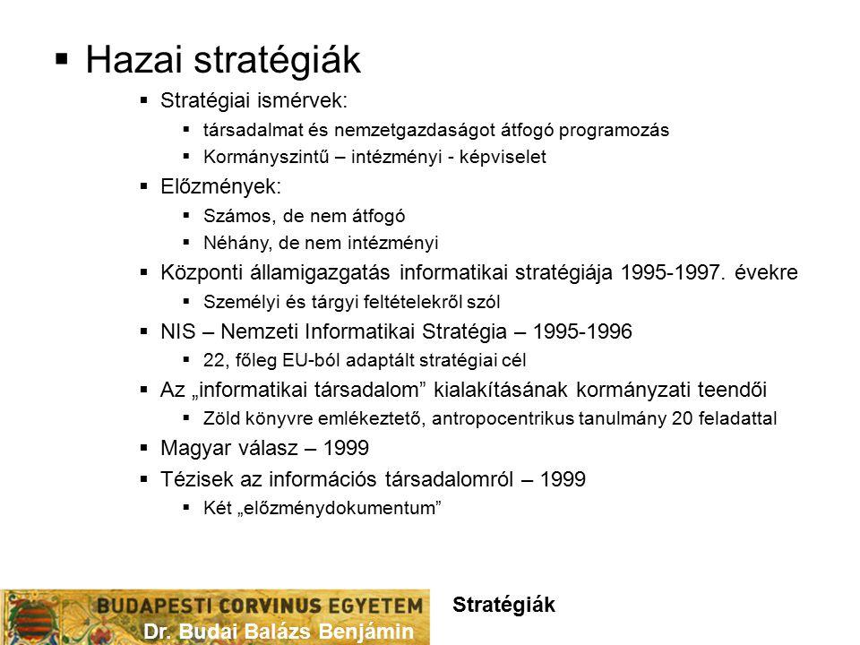  Hazai stratégiák  Stratégiai ismérvek:  társadalmat és nemzetgazdaságot átfogó programozás  Kormányszintű – intézményi - képviselet  Előzmények:  Számos, de nem átfogó  Néhány, de nem intézményi  Központi államigazgatás informatikai stratégiája 1995-1997.