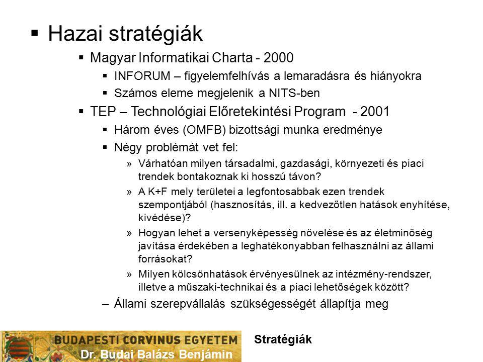  Hazai stratégiák  Magyar Informatikai Charta - 2000  INFORUM – figyelemfelhívás a lemaradásra és hiányokra  Számos eleme megjelenik a NITS-ben  TEP – Technológiai Előretekintési Program - 2001  Három éves (OMFB) bizottsági munka eredménye  Négy problémát vet fel: »Várhatóan milyen társadalmi, gazdasági, környezeti és piaci trendek bontakoznak ki hosszú távon.