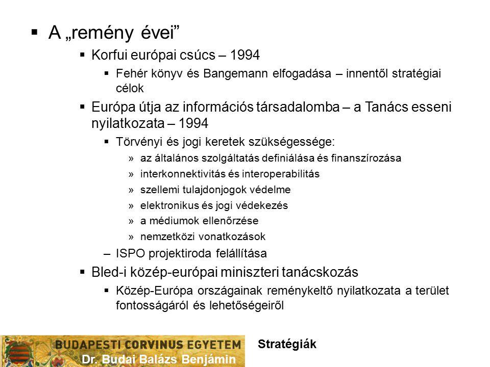 """ A """"remény évei  Korfui európai csúcs – 1994  Fehér könyv és Bangemann elfogadása – innentől stratégiai célok  Európa útja az információs társadalomba – a Tanács esseni nyilatkozata – 1994  Törvényi és jogi keretek szükségessége: »az általános szolgáltatás definiálása és finanszírozása »interkonnektivitás és interoperabilitás »szellemi tulajdonjogok védelme »elektronikus és jogi védekezés »a médiumok ellenőrzése »nemzetközi vonatkozások –ISPO projektiroda felállítása  Bled-i közép-európai miniszteri tanácskozás  Közép-Európa országainak reménykeltő nyilatkozata a terület fontosságáról és lehetőségeiről Dr."""