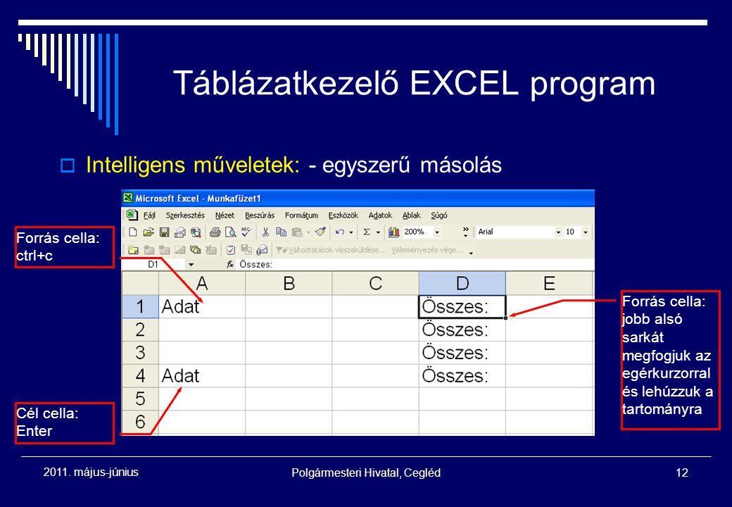 Polgármesteri Hivatal, Cegléd12 2011. május-június Táblázatkezelő EXCEL program  Intelligens műveletek: - egyszerű másolás Forrás cella: ctrl+c Cél c