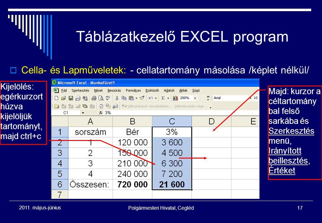 Polgármesteri Hivatal, Cegléd17 2011. május-június Táblázatkezelő EXCEL program  Cella- és Lapműveletek: - cellatartomány másolása /képlet nélkül/ Ki