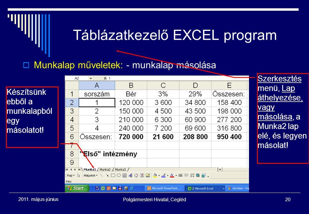 Polgármesteri Hivatal, Cegléd20 2011. május-június Táblázatkezelő EXCEL program  Munkalap műveletek: - munkalap másolása Készítsünk ebből a munkalapb