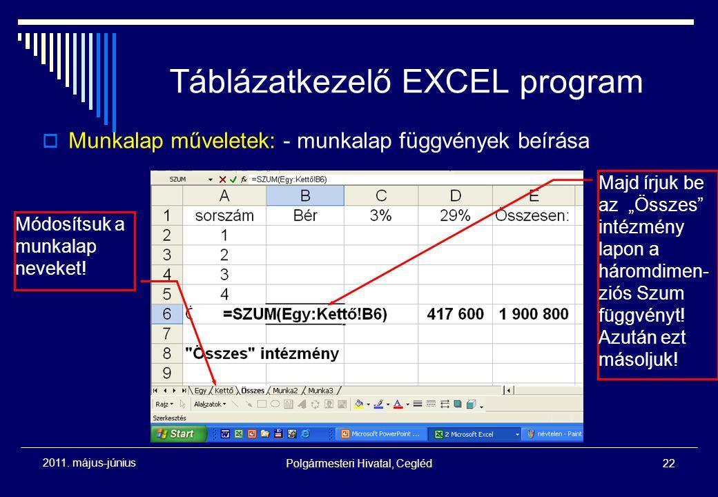 """Polgármesteri Hivatal, Cegléd22 2011. május-június Táblázatkezelő EXCEL program Módosítsuk a munkalap neveket! Majd írjuk be az """"Összes"""" intézmény lap"""