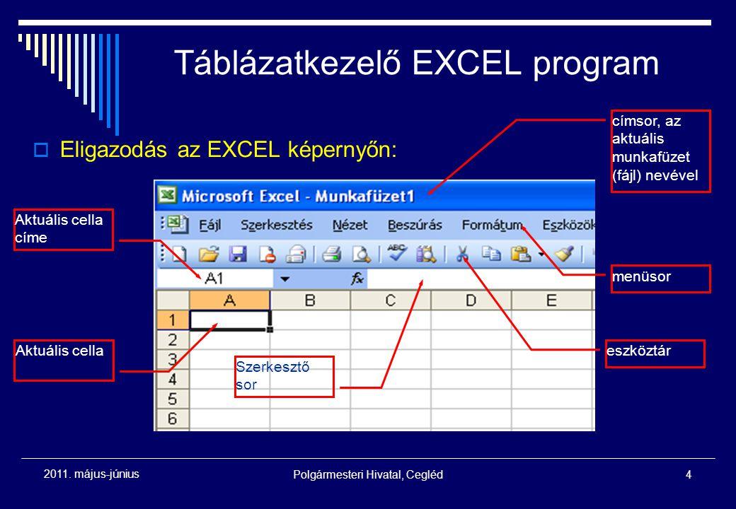Polgármesteri Hivatal, Cegléd4 2011. május-június  Eligazodás az EXCEL képernyőn: címsor, az aktuális munkafüzet (fájl) nevével menüsor eszköztár Akt