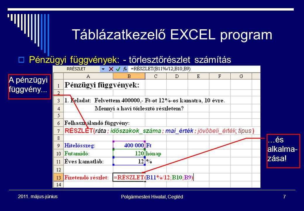 Polgármesteri Hivatal, Cegléd7 2011. május-június Táblázatkezelő EXCEL program  Pénzügyi függvények: - törlesztőrészlet számítás A pénzügyi függvény.