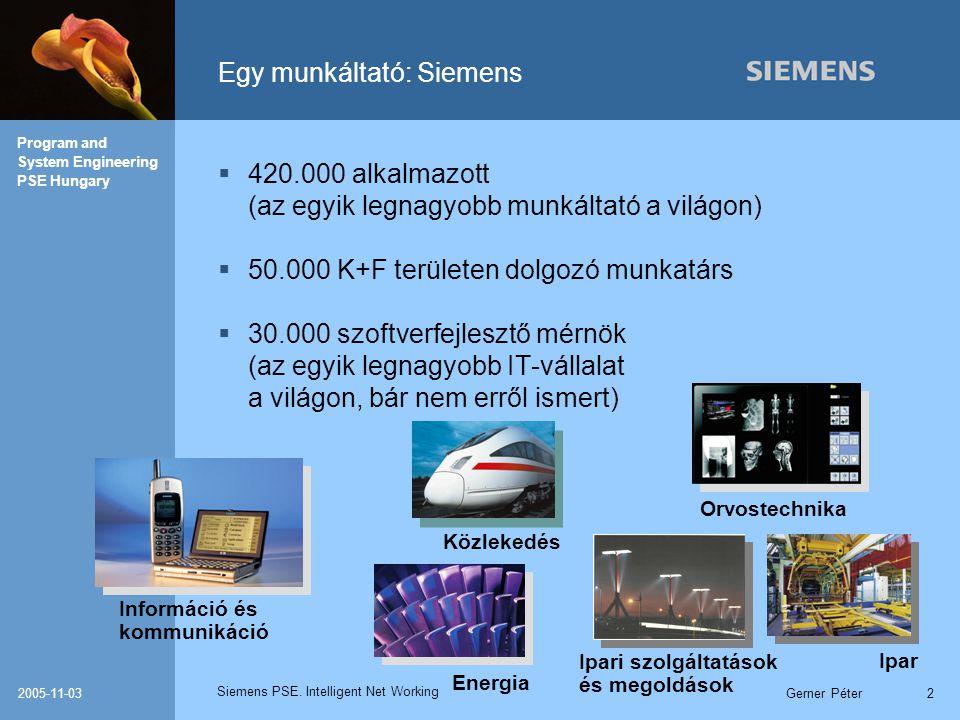 Siemens PSE. Intelligent Net Working Program and System Engineering PSE Hungary 2005-11-03Gerner Péter2 Egy munkáltató: Siemens  420.000 alkalmazott