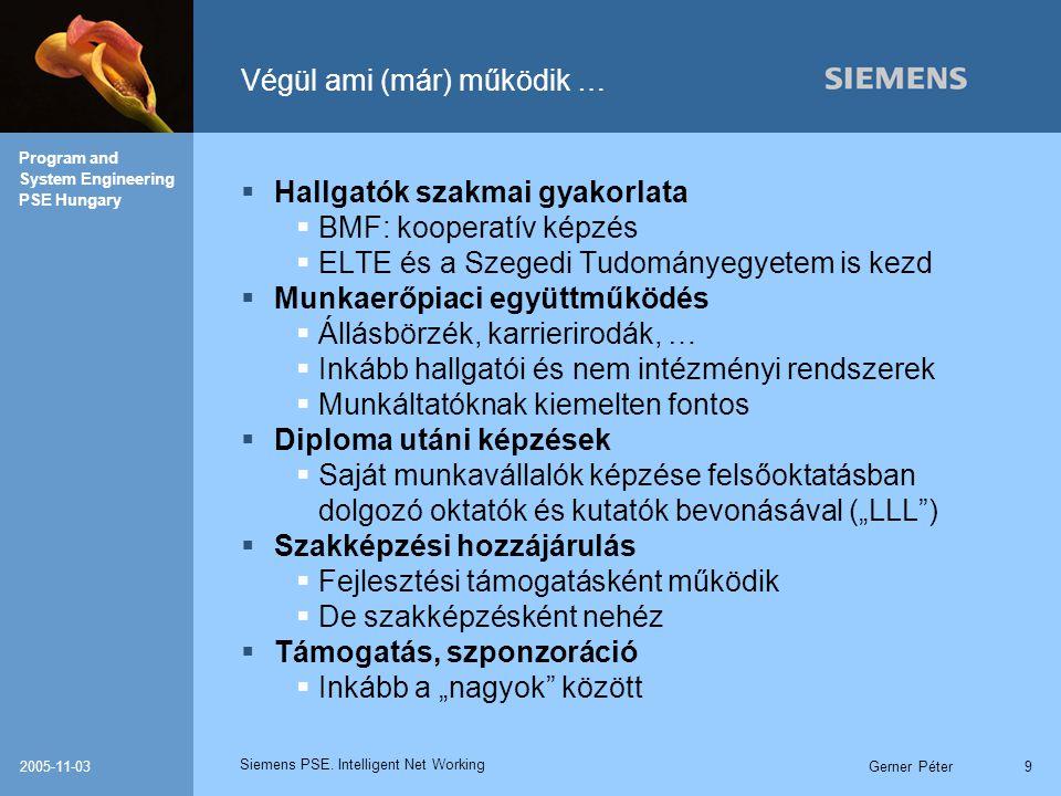 Siemens PSE. Intelligent Net Working Program and System Engineering PSE Hungary 2005-11-03Gerner Péter9 Végül ami (már) működik …  Hallgatók szakmai