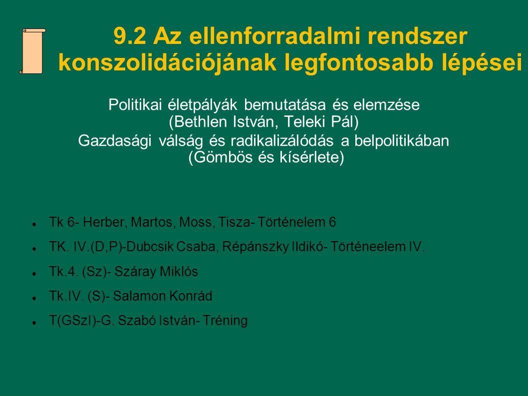 9.2 Az ellenforradalmi rendszer konszolidációjának legfontosabb lépései Politikai életpályák bemutatása és elemzése (Bethlen István, Teleki Pál) Gazd