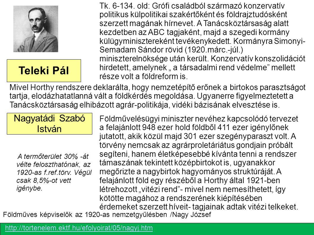 Teleki Pál  Nagyatádi Szabó István A termőterület 30% -át vélte feloszthatónak, az 1920-as f.ref.törv. Végül csak 8,5%-ot vett igénybe. Tk. 6-134. ol