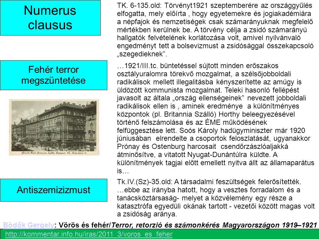 Numerus clausus Fehér terror megszüntetése TK. 6-135.old: Törvényt1921 szeptemberére az országgyűlés elfogatta, mely előírta, hogy egyetemekre és jogi
