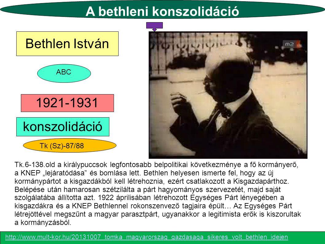 A bethleni konszolidáció Tk (Sz)-87/88 Bethlen István 1921-1931 konszolidáció ABC Tk.6-138.old a királypuccsok legfontosabb belpolitikai következménye