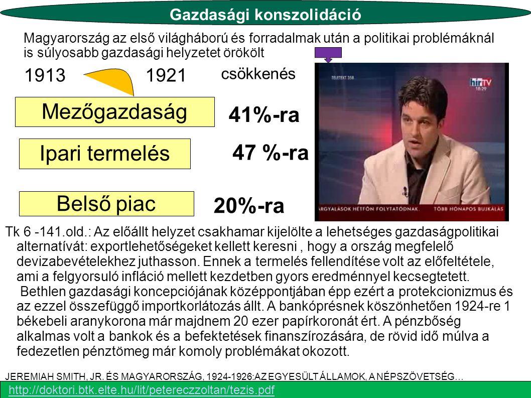 Ipari termelés Belső piac Mezőgazdaság 19131921 csökkenés 47 %-ra 41%-ra 20%-ra Magyarország az első világháború és forradalmak után a politikai probl
