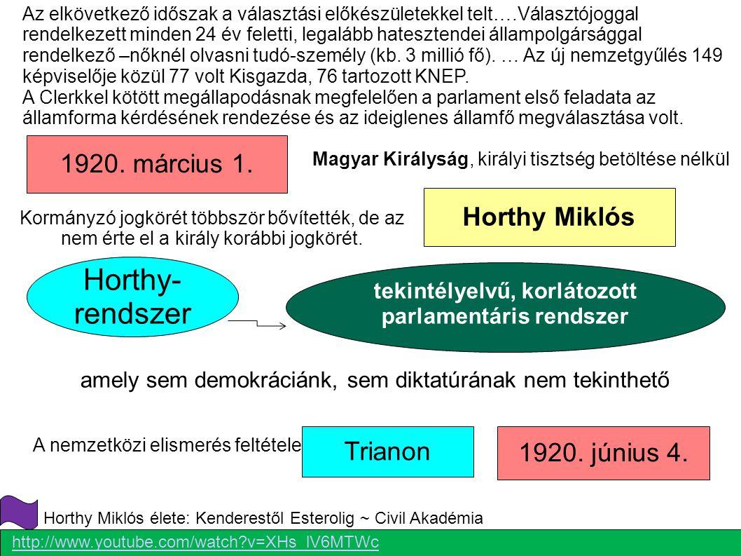 1920. március 1. Horthy Miklós 1920. június 4. Magyar Királyság, királyi tisztség betöltése nélkül Kormányzó jogkörét többször bővítették, de az nem é