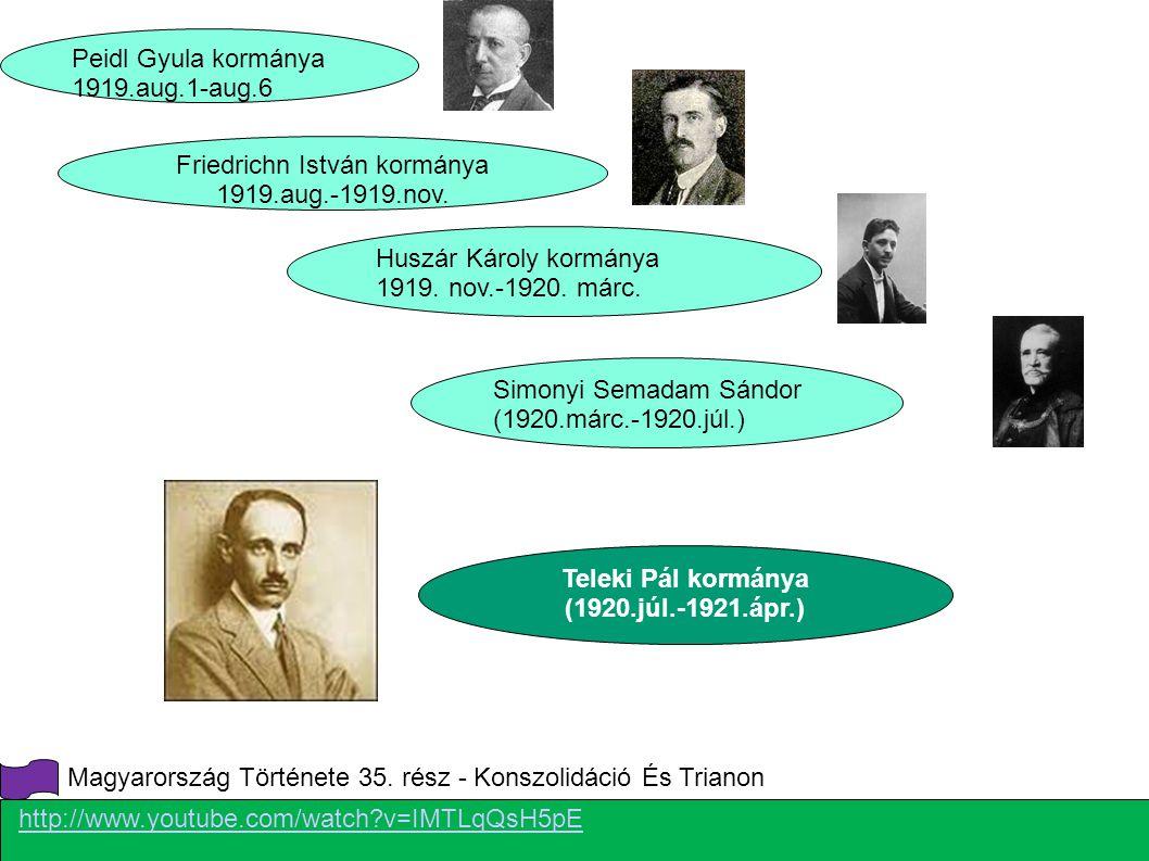 Peidl Gyula kormánya 1919.aug.1-aug.6 Friedrichn István kormánya 1919.aug.-1919.nov. Huszár Károly kormánya 1919. nov.-1920. márc. Simonyi Semadam Sán