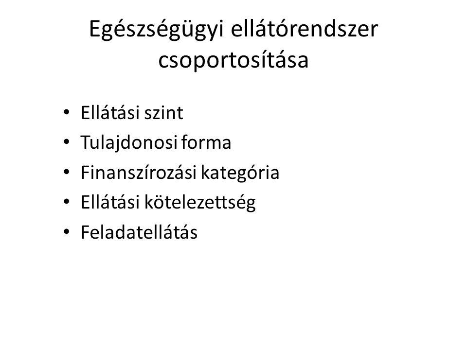 Egészségügyi ellátórendszer csoportosítása Ellátási szint Tulajdonosi forma Finanszírozási kategória Ellátási kötelezettség Feladatellátás