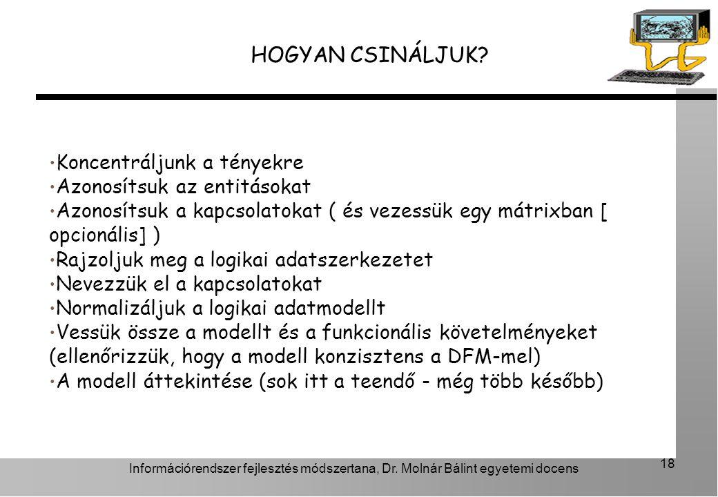 Információrendszer fejlesztés módszertana, Dr.Molnár Bálint egyetemi docens 18 HOGYAN CSINÁLJUK.