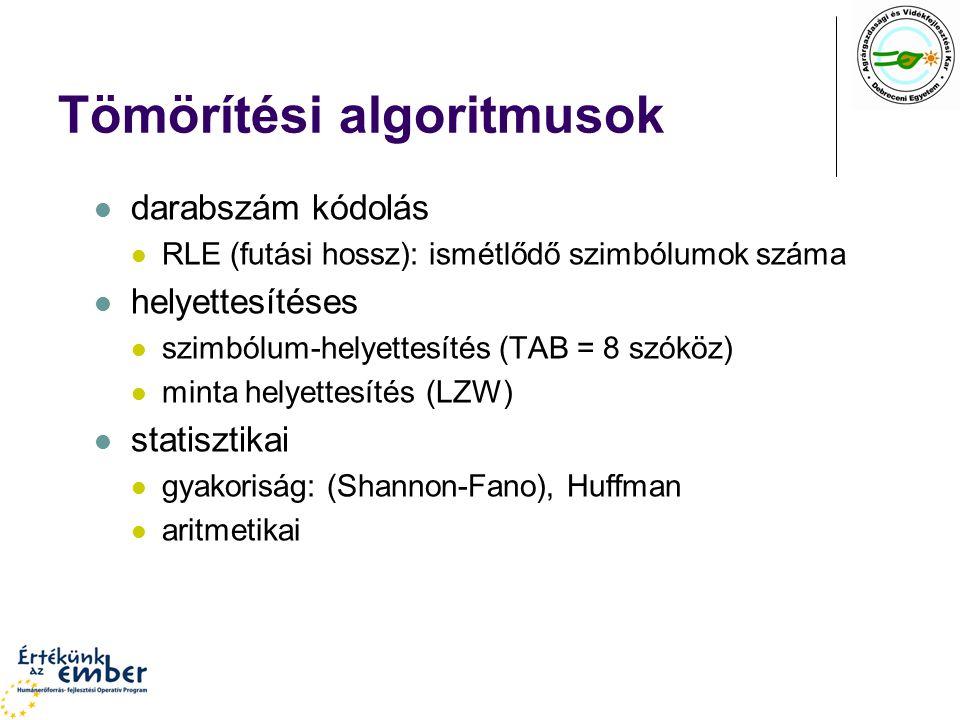 Tömörítési algoritmusok darabszám kódolás RLE (futási hossz): ismétlődő szimbólumok száma helyettesítéses szimbólum-helyettesítés (TAB = 8 szóköz) minta helyettesítés (LZW) statisztikai gyakoriság: (Shannon-Fano), Huffman aritmetikai