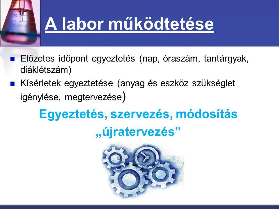 A labor működtetése Adminisztráció (labornapló, eszközátadás, jelenléti ívek) Előkészítés (laboránsok, laborvezető) Kísérleti nap (csütörtök, péntek, balesetvédelem, laboránsok) A megvalósítás