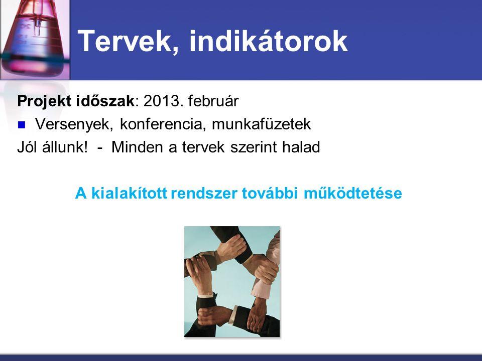 Tervek, indikátorok Projekt időszak: 2013. február Versenyek, konferencia, munkafüzetek Jól állunk! - Minden a tervek szerint halad A kialakított rend