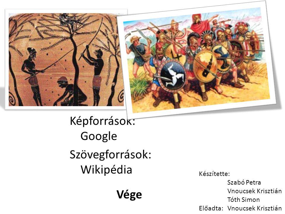 Képforrások: Google Szövegforrások: Wikipédia Készítette: Szabó Petra Vnoucsek Krisztián Tóth Simon Előadta: Vnoucsek Krisztián Vége