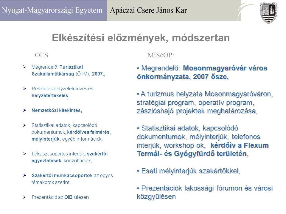 Elkészítési előzmények, módszertan  Megrendelő: Turisztikai Szakállamtitkárság (ÖTM), 2007.,  Részletes helyzetelemzés és helyzetértékelés,  Nemzetközi kitekintés,  Statisztikai adatok, kapcsolódó dokumentumok, kérdőíves felmérés, mélyinterjúk, egyéb információk,  Fókuszcsoportos interjúk, szakértői egyeztetések, konzultációk,  Szakértői munkacsoportok az egyes témakörök szerint,  Prezentáció az OIB ülésen OES Megrendelő: Mosonmagyaróvár város önkormányzata, 2007 ősze, A turizmus helyzete Mosonmagyaróváron, stratégiai program, operatív program, zászlóshajó projektek meghatározása, A turizmus helyzete Mosonmagyaróváron, stratégiai program, operatív program, zászlóshajó projektek meghatározása, Statisztikai adatok, kapcsolódó dokumentumok, mélyinterjúk, telefonos interjúk, workshop-ok, kérdőív a Flexum Termál- és Gyógyfürdő területén, Statisztikai adatok, kapcsolódó dokumentumok, mélyinterjúk, telefonos interjúk, workshop-ok, kérdőív a Flexum Termál- és Gyógyfürdő területén, Eseti mélyinterjúk szakértőkkel, Eseti mélyinterjúk szakértőkkel, Prezentációk lakossági fórumon és városi közgyűlésen Prezentációk lakossági fórumon és városi közgyűlésen MISéOP: