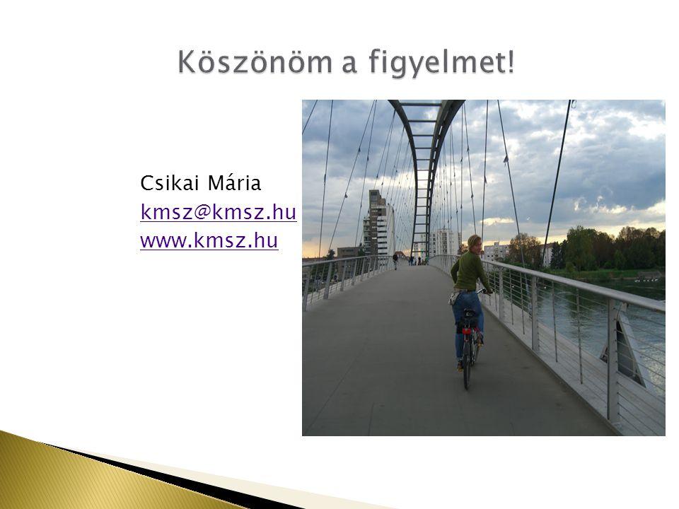 Csikai Mária kmsz@kmsz.hu www.kmsz.hu