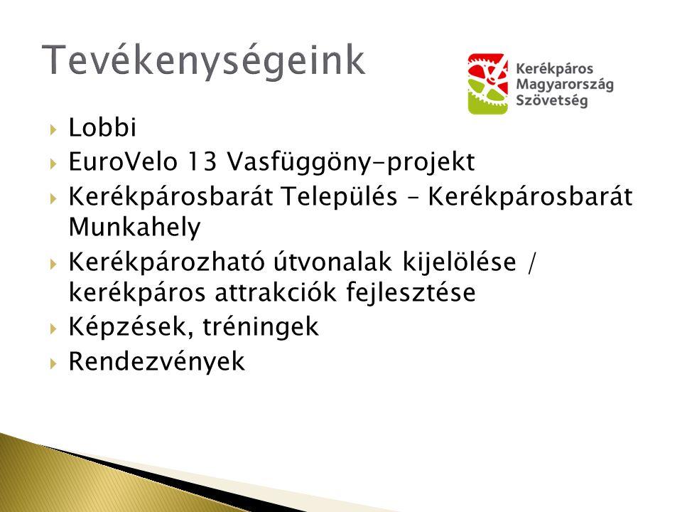 Lobbi  EuroVelo 13 Vasfüggöny-projekt  Kerékpárosbarát Település – Kerékpárosbarát Munkahely  Kerékpározható útvonalak kijelölése / kerékpáros attrakciók fejlesztése  Képzések, tréningek  Rendezvények