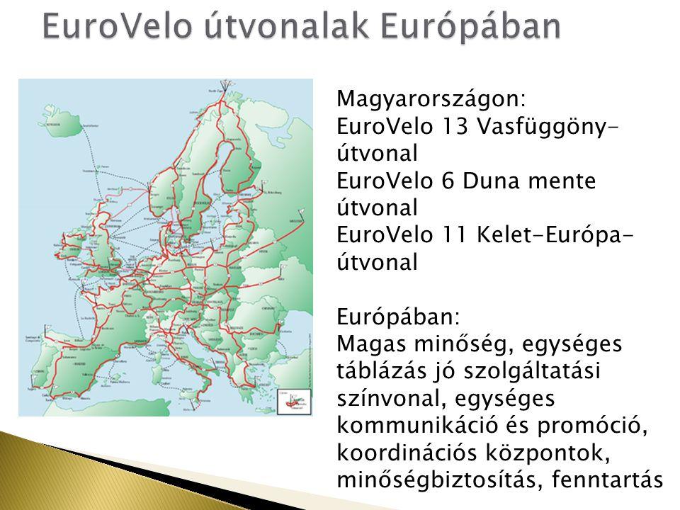 Magyarországon: EuroVelo 13 Vasfüggöny- útvonal EuroVelo 6 Duna mente útvonal EuroVelo 11 Kelet-Európa- útvonal Európában: Magas minőség, egységes táblázás jó szolgáltatási színvonal, egységes kommunikáció és promóció, koordinációs központok, minőségbiztosítás, fenntartás