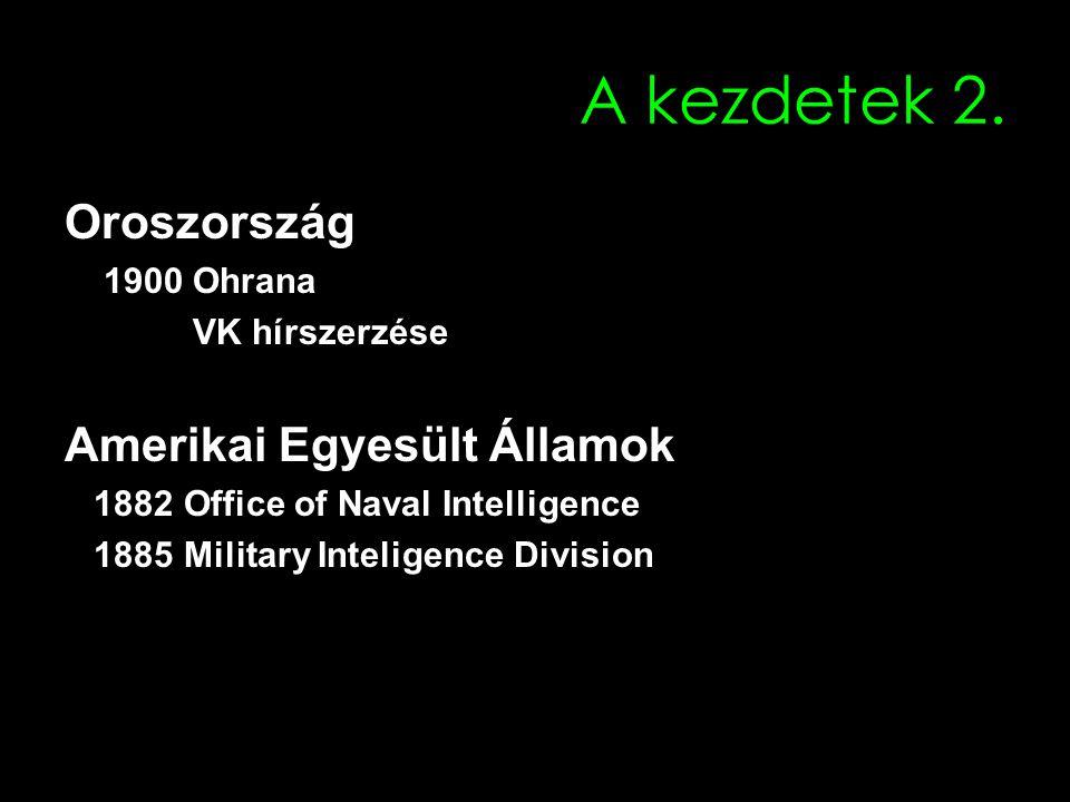 A kezdetek 2. Oroszország 1900 Ohrana VK hírszerzése Amerikai Egyesült Államok 1882 Office of Naval Intelligence 1885 Military Inteligence Division