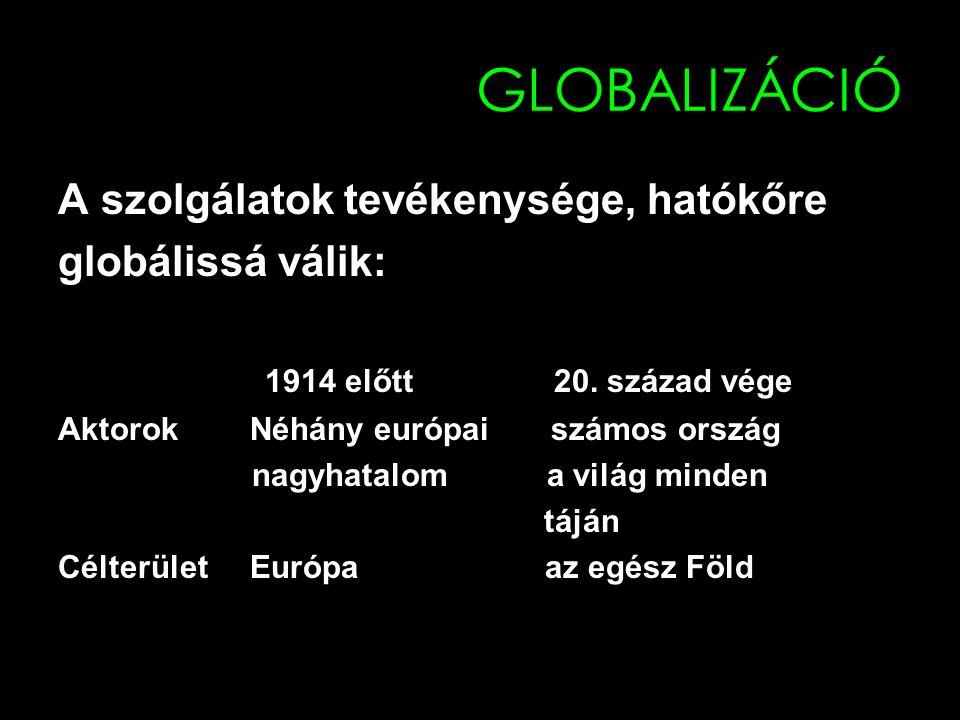 GLOBALIZÁCIÓ A szolgálatok tevékenysége, hatókőre globálissá válik: 1914 előtt 20. század vége Aktorok Néhány európai számos ország nagyhatalom a vilá