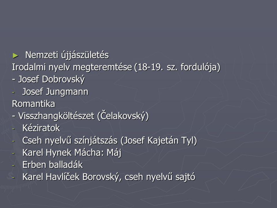 ► Nemzeti újjászületés Irodalmi nyelv megteremtése (18-19.