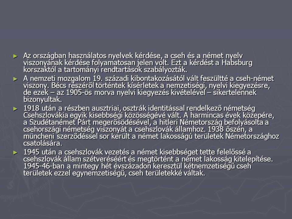 ► Az országban használatos nyelvek kérdése, a cseh és a német nyelv viszonyának kérdése folyamatosan jelen volt.