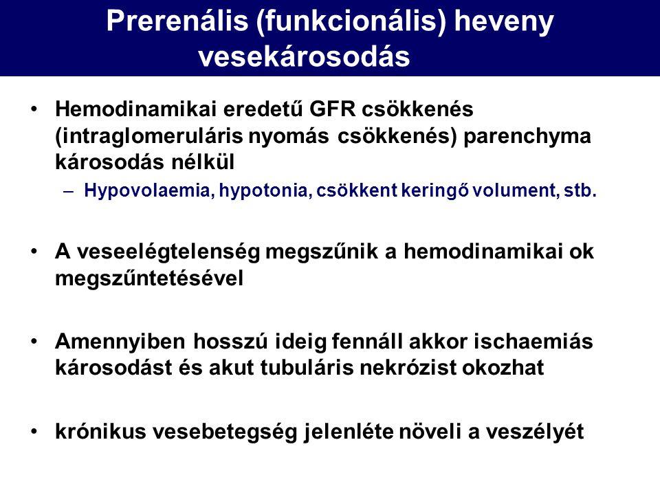 Prerenális (funkcionális) heveny vesekárosodás Hemodinamikai eredetű GFR csökkenés (intraglomeruláris nyomás csökkenés) parenchyma károsodás nélkül –H