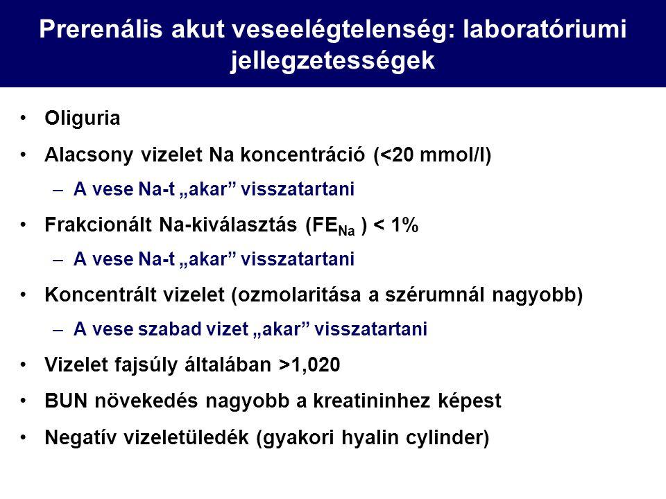 """Prerenális akut veseelégtelenség: laboratóriumi jellegzetességek Oliguria Alacsony vizelet Na koncentráció (<20 mmol/l) –A vese Na-t """"akar"""" visszatart"""