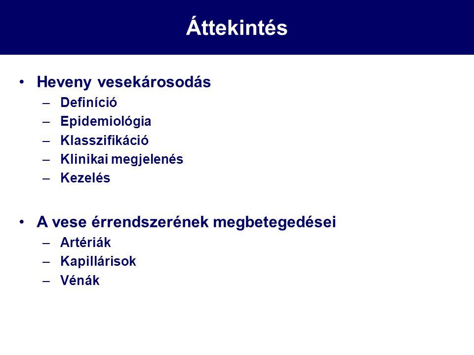 Heveny vesekárosodás (ATN-re típusos) lefolyása Bevezető szakasz Alapbetegség tünetei Oligo/anuriás, uraemiás szakasz (1-2 nap/hét) Volumen, pH, ioneltérések (K↑, P ↑, Ca ↑↓ Na ↑↓, pH↓) Uraemia, encephalopathia (BUN ↑, kreatinin ↑) Szövődmények Haematológiai (anaemia, throbocytopathia) Fertőzés hajlam Gastrointestinális (hányás, hasmenés, fekélybetegség) Cardiovasculáris (szívelégtelenség, arrythmia, pericarditis) Malnutríció Polyuriás szakasz (1-2 hét) Akár 4-6 l/nap, ionzavarok
