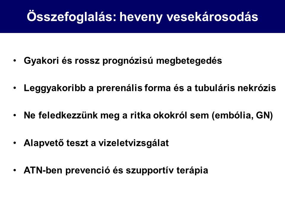 Összefoglalás: heveny vesekárosodás Gyakori és rossz prognózisú megbetegedés Leggyakoribb a prerenális forma és a tubuláris nekrózis Ne feledkezzünk m