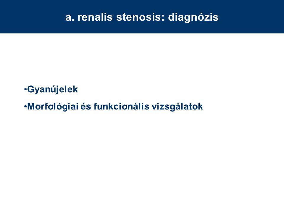 a. renalis stenosis: diagnózis Gyanújelek Morfológiai és funkcionális vizsgálatok